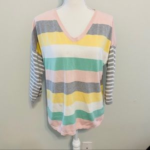 Allen Solly Striped V-Neck Sweater Size Large